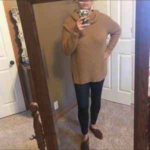 Knit Cowl-neck Tunic Sweater